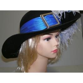 Mušketýrský klobouk s modrou stuhou 4 120123m - Ru