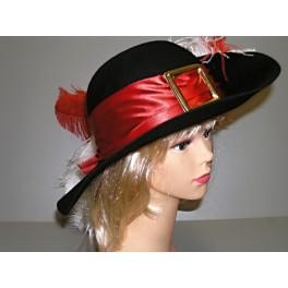 Mušketýrský klobouk s červenou stuhou 4 120123č - Ru