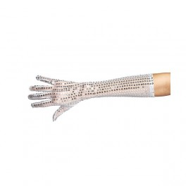 Rukavice s flitry dlouhé stříbrné 6 302653 - Ru